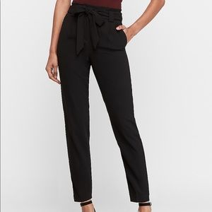 Black High Waisted Paperbag Ankle Pant